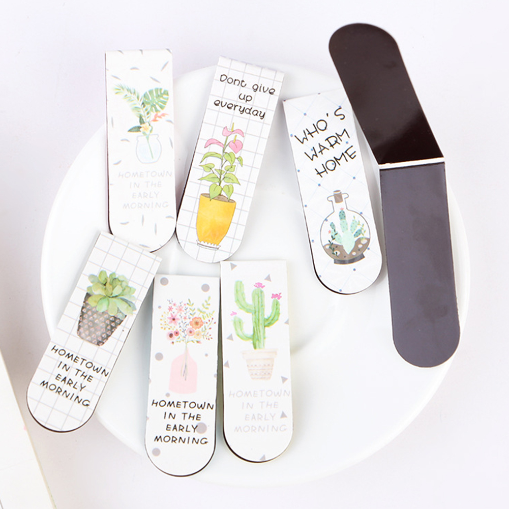6pcs Cute Office Magnetic Bookmark Paper Page Note School Colourful Cartoon Accessories Marker Gift Foldable Mini Plant Assorted
