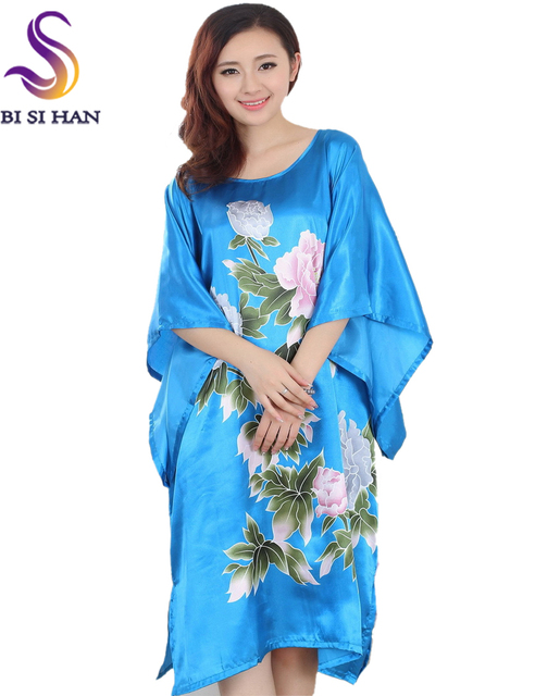 2016 Extra Large Butterfly Sleeves Women Nightgowns Printed,New Arrival Elegant Sleepshirts,Female Silk Nightwear