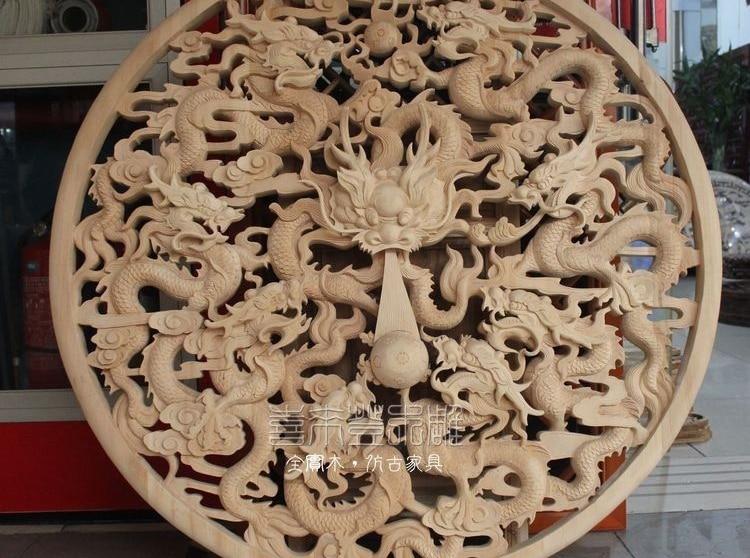 Chine travail manuel en bois sculpté neuf Dragon perle boule Art décoration plaque écran