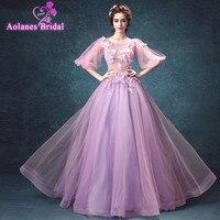 AOLANES Robe de Soiree Purple Evening Gowns 2017 Maxi Women Flowers Appliques Evening Dresses Long Prom Party Formal Dress