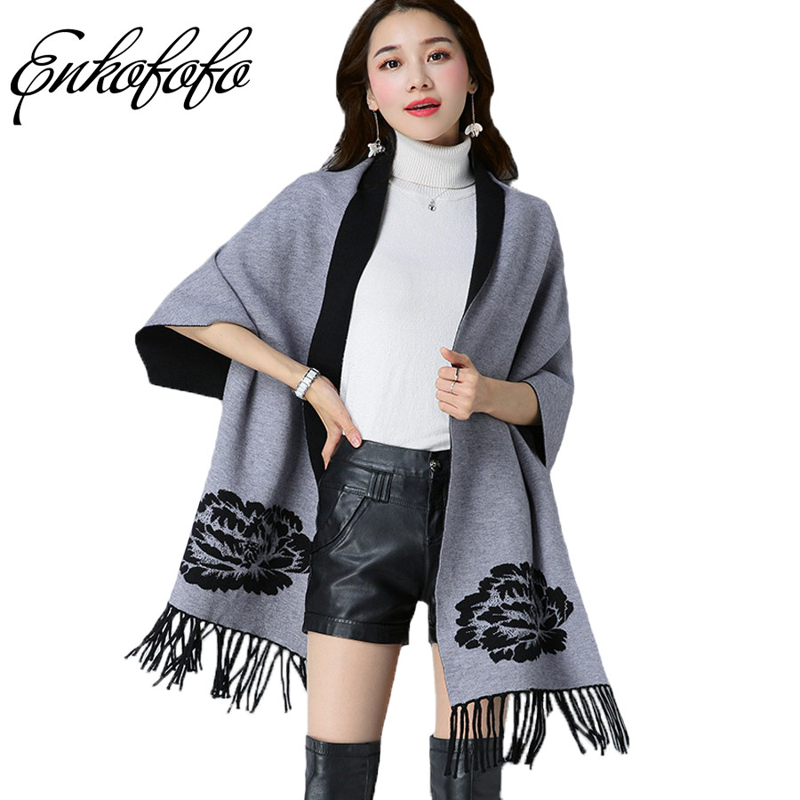 Double Sided Wear Thick Sweater Women Cloak Long Sweater Cardigan Tassel Cape Outerwear Female Autumn and Winter Phocho Sweaters ...