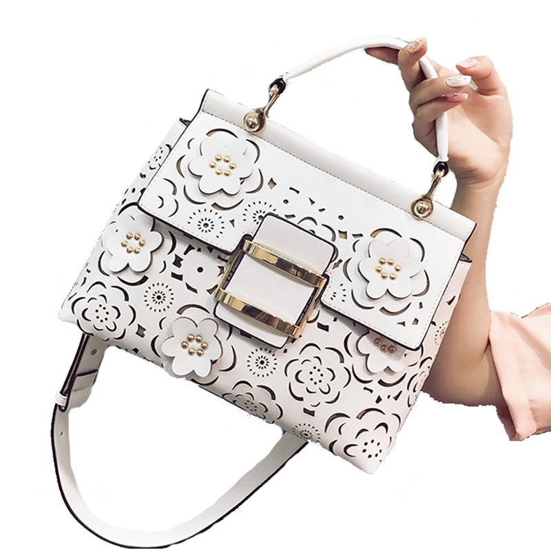 Women Spring Summer Ladies Handbags Hollow Out Lock Women Shoulder Bag Lady Floral Young Ladies Totes Big Shell Bag Elegant Sac gorgeous leaf floral hollow out necklace for women