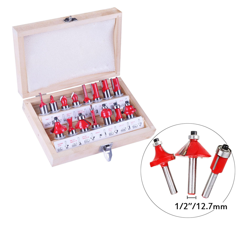 Milling Cutters 15pcs/set Woodworking 6.35mm/12.7mm Shank Carbide Router Bit For Wood Cutter Engraving Cutting Tools дрель dwt sbm 1050 t