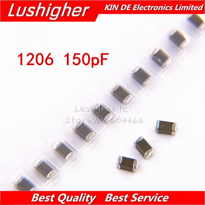 100pcs 1206 150pF 151K 250V X7R Error 10% SMD Ceramic Capacitor MLCC