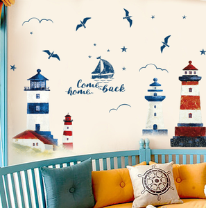 Image 4 - 60*90CM Room Decoration Mediterranean Lighthouse Wall Sticker PVC Background Decoration Sticker For Wall Decor