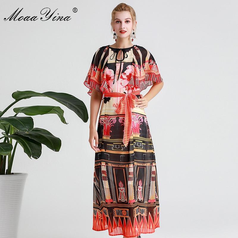 Image 4 - MoaaYina Fashion Designer Runway dress Spring Summer Women Dress  Vintage Print Elegant Lace Up Maxi DressesDresses