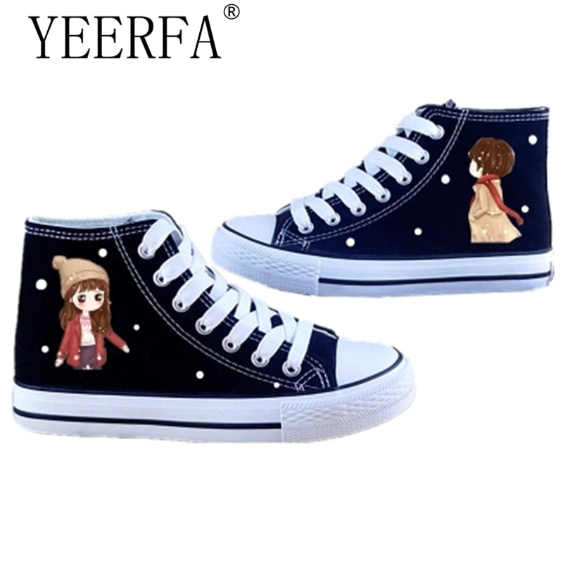 Canvas Shoes Woman 2018 Summer Fashion Hand Painted High-top Canvas Shoes Girls Cartoon Anime Casual Board Shoe Zaspatos Mujer 2016 new cartoon anime figure despicable me 2 minion shoes couples hand painted canvas shoes women men casual shoes big size 10