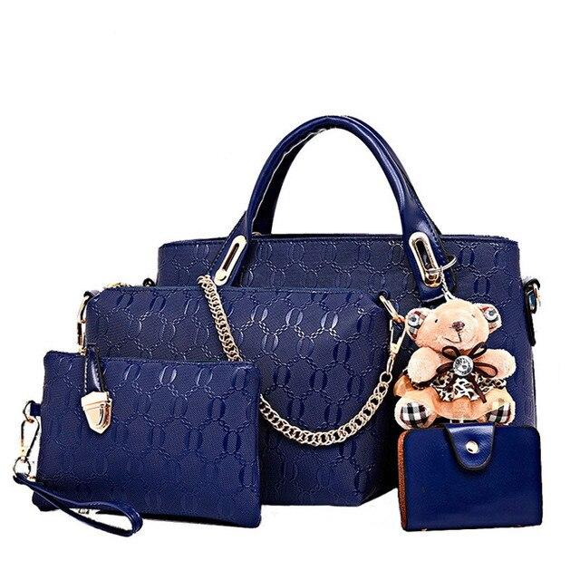 Free shipping  Brand Women Bag Top-Handle Bags 2017 Fashion Women Messenger Bags Handbag Set PU Leather Composite Bag   Q3