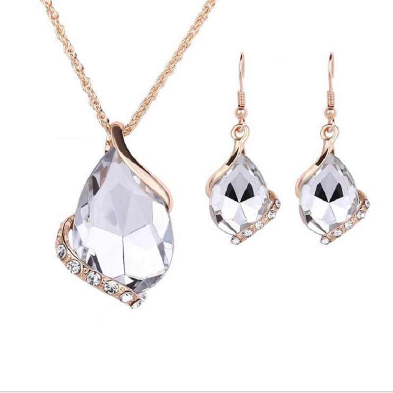 LAQ new fashion Charms Wedding Necklaces&Earrings Geometric Design Crystal Rhinestones Fashion Jewelry Sets For Women