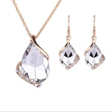 цена на LAQ new fashion Charms Wedding Necklaces&Earrings Geometric Design Crystal Rhinestones Fashion Jewelry Sets For Women