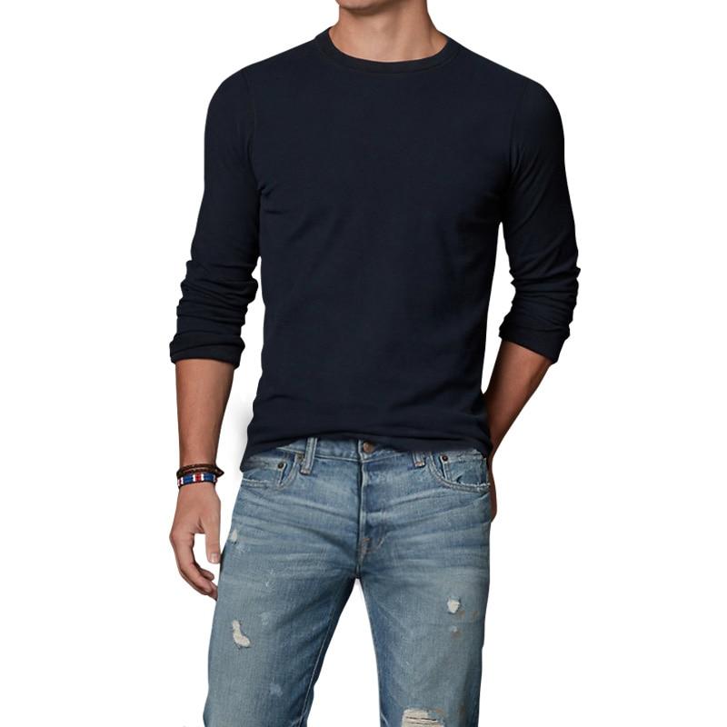 100% algodón clásico camisa inferior grueso de los hombres camiseta ocasional 2017 de los hombres del otoño Camiseta de manga larga Camisetas hombres primavera ropa