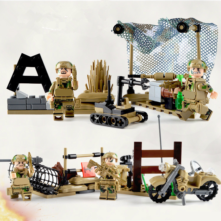 4 in 1 Special Forces MILITARY World War SWAT Army Weapon Soldier Marine Corps Mini Building Blocks figures Toy for Boy Children xinlexin 317p 4in1 military boys blocks soldier war weapon cannon dog bricks building blocks sets swat classic toys for children