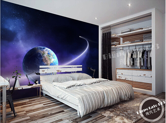The custom 3D murals,dream aerial planets orbiting the blue planet papel de parede,living room sofa TV wall bedroom wall paper custom large 3d murals beautiful peach blue sky zenith mural ceiling papel de parede living room the bedroom wallpaper
