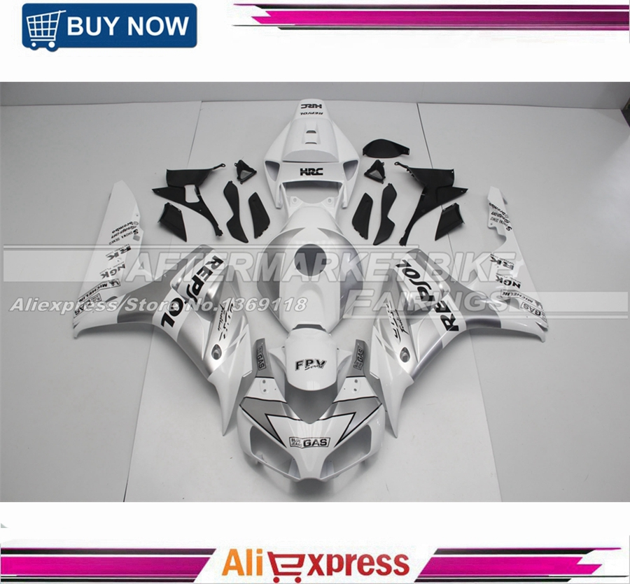 100% Virgin ABS Plastic Fairing Pieces For Honda 06 07 CBR1000RR Motorbike Injection Bodywork With Full Tank Cover Silver Repsol repsol 100