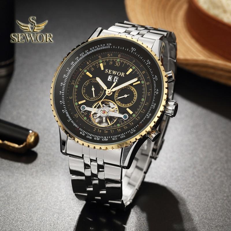 SEWOR Luxury Brand 2018 New Fashion Tourbillon Automatic Mechanical Full Steel Watch band Men Sport Wrist Watch BLACK GOLD C420