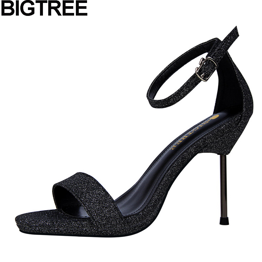 Black sandals bling - Bigtree 2017 Women Bling Bling Sequined Sparkle Sandals Metallic Thin High Heeled Stiettos Woman Pumps Ankle
