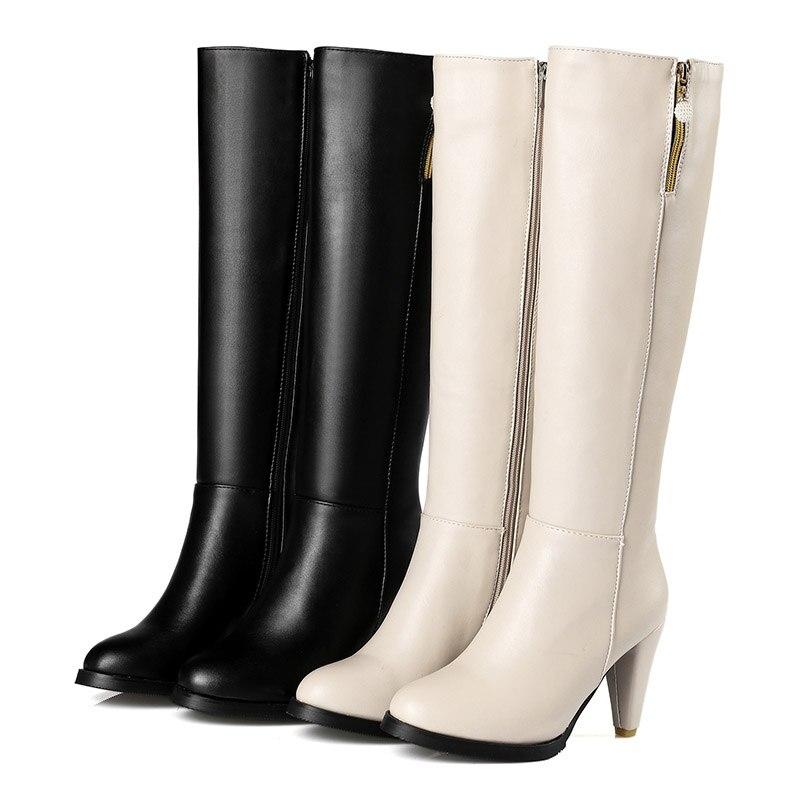 Cremallera Black Europea Cabeza Altas De Tacones La Moda Calle beige Tacón Estilo Zapatos Mujeres Botas Redonda Negro Rodilla Las Alto vx1tqUwq
