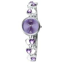 Moda Marca Kimio relojes con diamantes Amor Corazón Joya Delgada Correa Relojes de Pulsera Analógico Redondo Reloj Pulsera para La Mujer Chica