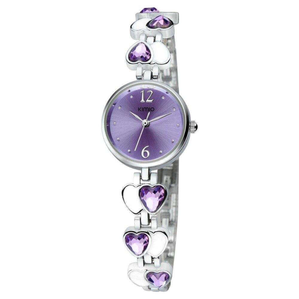 Prix pour Mode kimio marque relojes con diamantes coeur d'amour bijou mince sangle poignet montres analogique ronde bracelet montre pour femmes fille