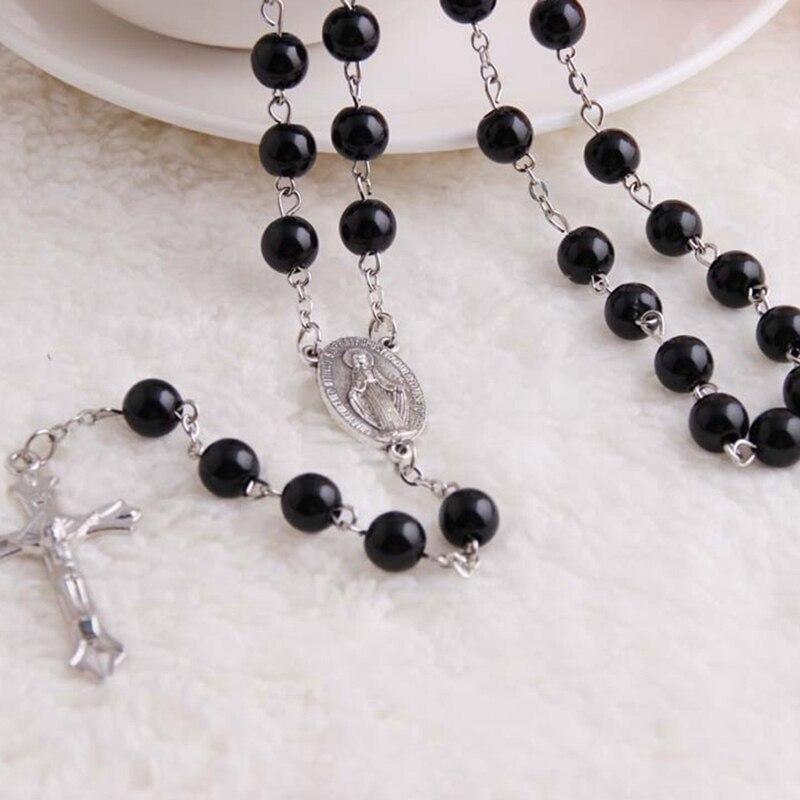 3d27e90e4aa0 Moda Rosario cristiano Cruz colgante largo collares mujeres hombres hecho a  mano de perlas de imitación cuentas de madera joyería Bijoux regalos en  Collares ...