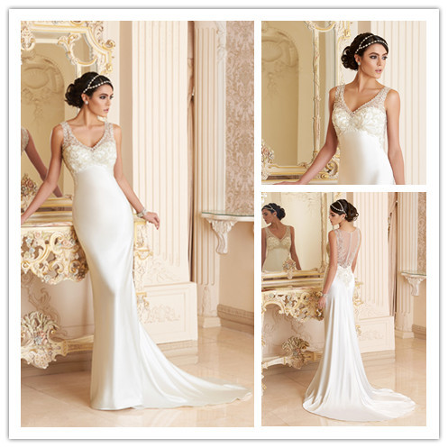 Comfortable Soft Bohemian Wedding Dresses Plus Size Long V Neck