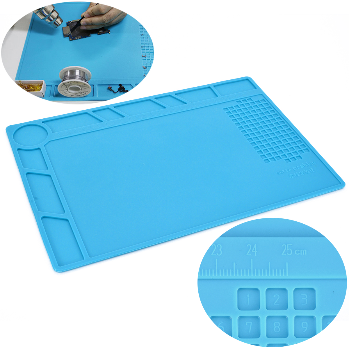 цена на Insulation Silicone Soldering Mat Heat Resistant Pad With High Temperature Resistant Multifunction Repair Tool 35x25cm