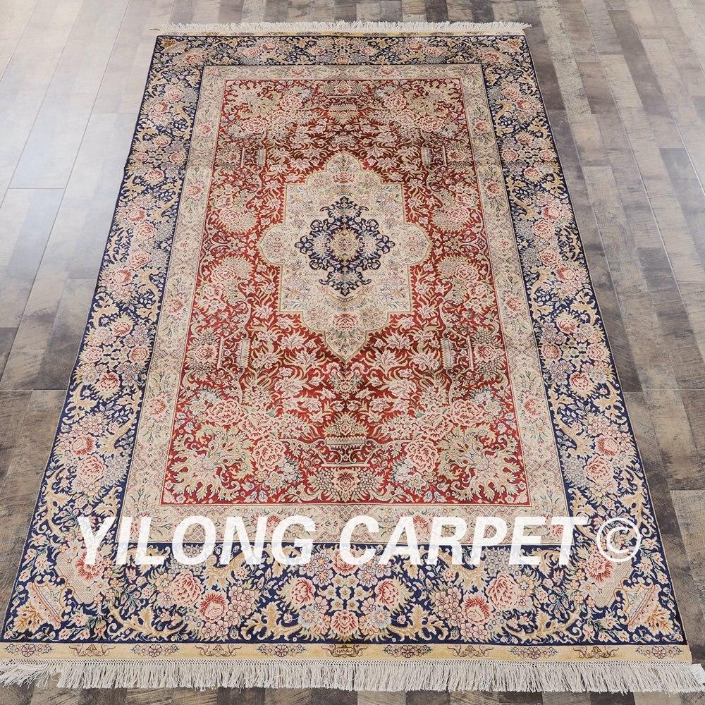 Yilong 5'x8' couleur rouge conception simple tapis noués à la main en soie tapis persan fait main (SL268D5x8)