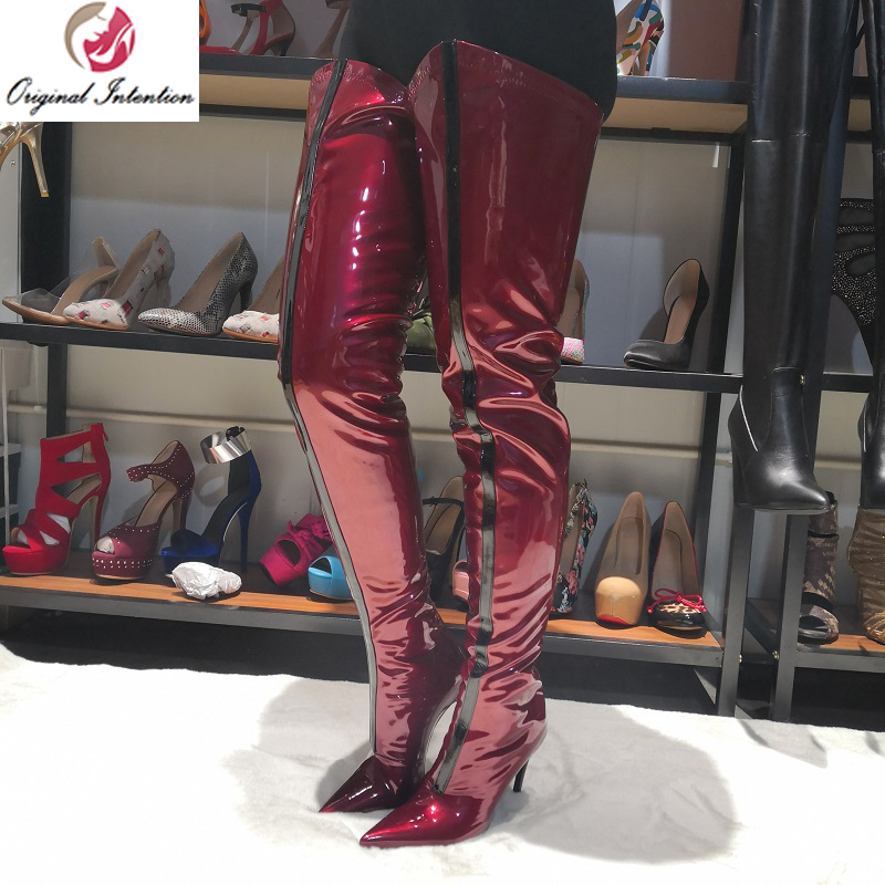 Original Intention Sexy Women Over the Knee Boots Thigh High Pointed Toe Thin Heels Boots Patent Wine Red Shoes Woman Big Size