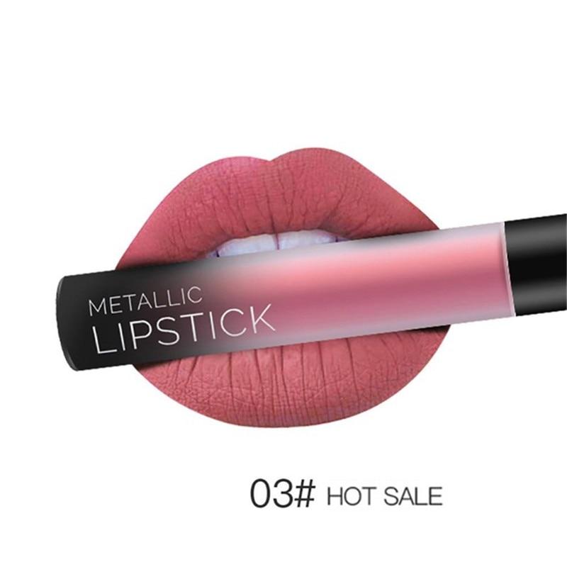 NEW 24 Colors Long Lasting Metallic Lip Gloss Red Velvet Matte Nude Liquid Lipstick Cosmetic Lips Makeup Women Gift Maquiagem 14