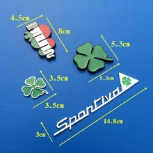 Green Clover Day Badge Alfa Romeo For  Four Leaf Clover Chrom Metal and with grill Car Styling Emblem Sticker car decoration