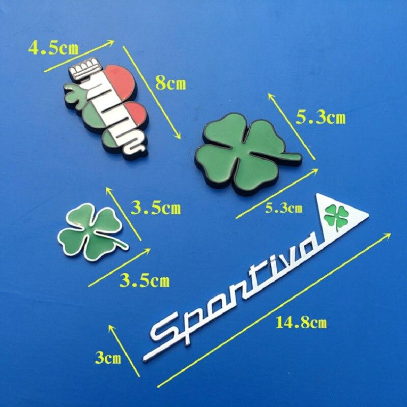 Insigne de jour trèfle vert Alfa Romeo pour trèfle à quatre feuilles Chrom métal et avec gril voiture style emblème autocollant décoration de voiture