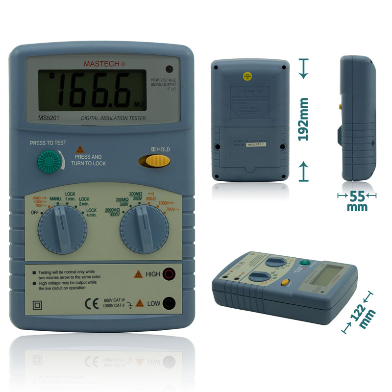 MASTECH MS5201 Digital Insulation Resistance Tester Megger Megometro Mega Ohm Sound and Light Alarm Genuine digital megger insulation resistance tester sound and light alarm mastech ms5201