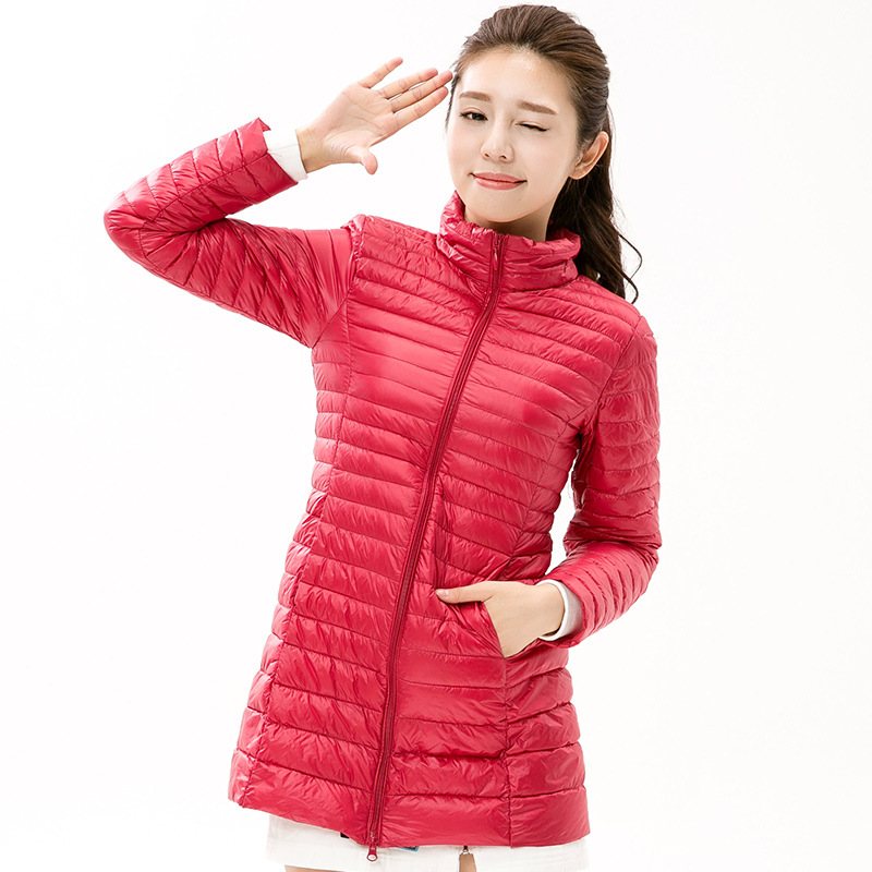 Large Size 2018 Snow Winter Jacket Women Fashion Womens 90 % White Duck Down Jackets Ultra Light Zipper Coats Slim Outwear