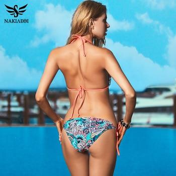 NAKIAEOI Sexy Bikinis Women Swimsuit 2018 Beach Wear Bathing Suit Push Up Swimwear Female Printed Brazilian Bikini Set Swim Wear 2