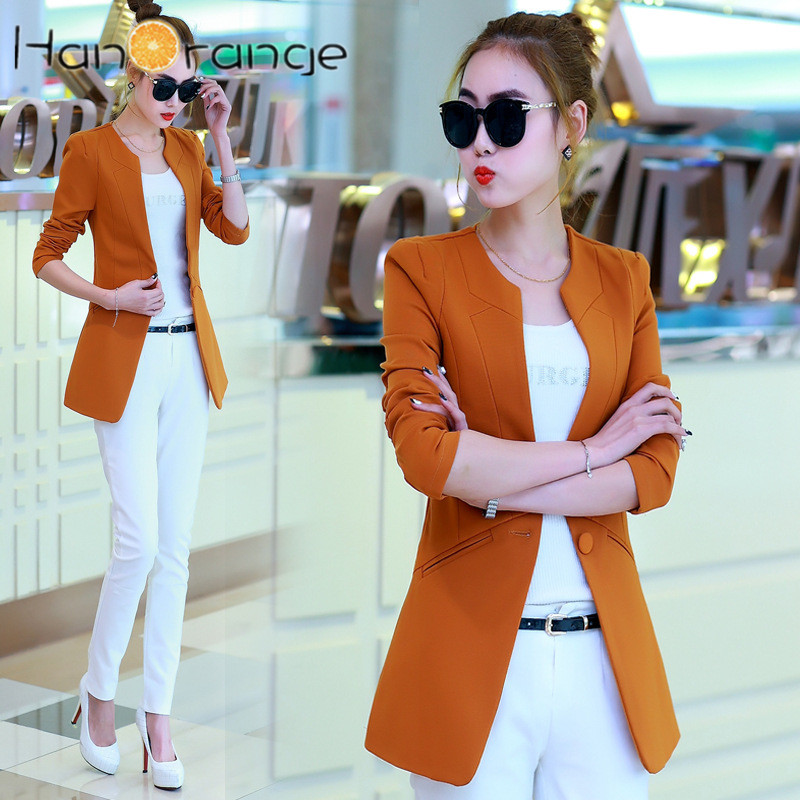 HanOrange Autumn Female Casual 2018 OL Single Button Slim Fit Blazer Women Jacket Black/Orange/Rose/Wine Red/Green/Blue/Camel