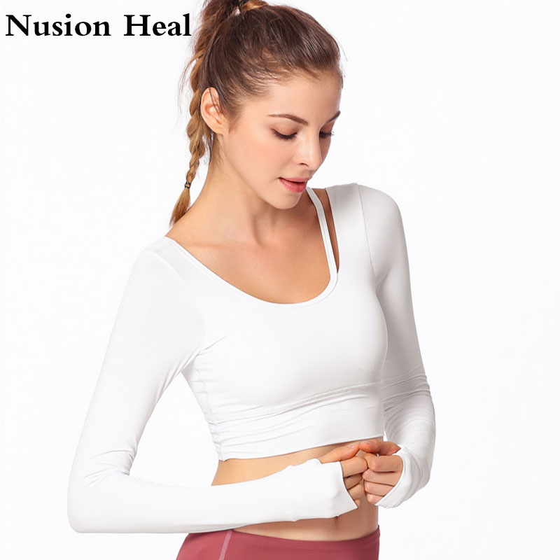 3fe479e4be7 Drop Sexy Ombre Crop Top Yoga Shirts for Women Long Sleeve Workout Top Gym  Shirts with Thumb Hole Fitness Crop Top Camisas Mujer-in Yoga Shirts from  Sports ...
