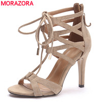MORAZORA 2017 Summer New High Quality Sheepskin Genuine Leather Women Sandals Gladiator High Heels Party Wedding