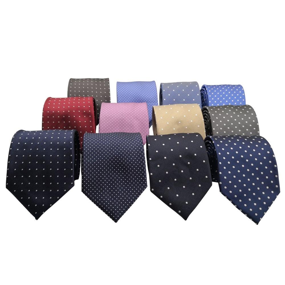 HUISHI 8 Cm Skinny Fashion Dot Neckties Men Slim Polyester Neck Tie  Polka Dot Men Polyester Neckies For Gentlemen