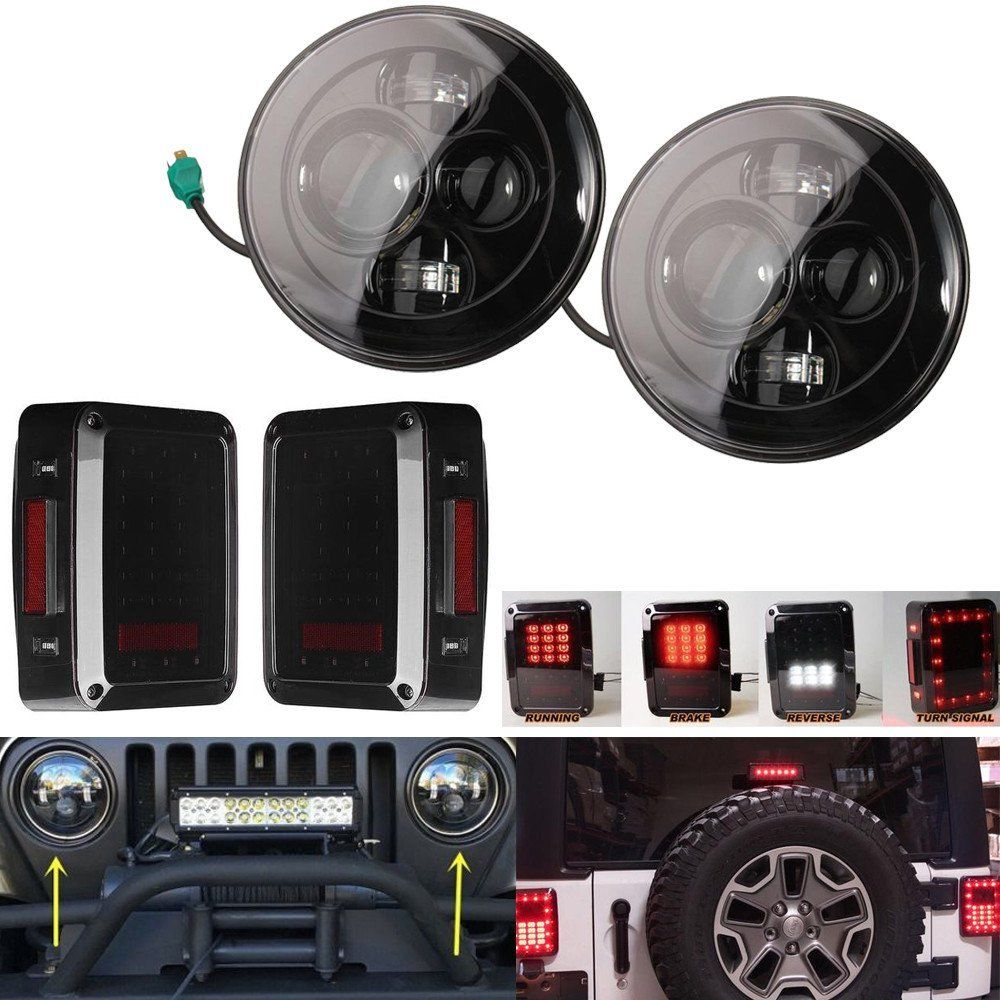 7 inch Project Wrangler Jk Headlights Smoked LED Tail Lights LED Lamps Rear Signal With Brake For 07-16 Jeep Wrangler Black