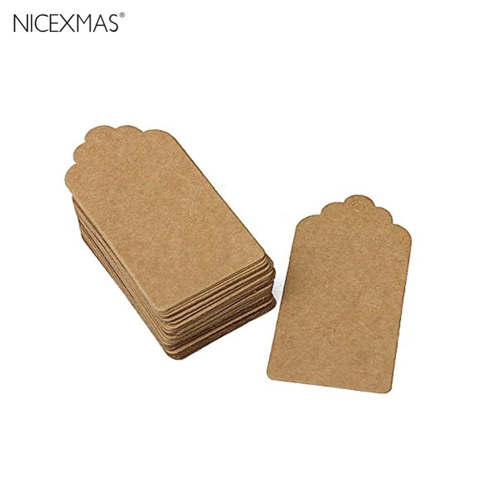 24stk Rustik 40 * 70mm scalloped Kraftpapirkort / tomt brunt mærke / bryllup favoriser gave tag / bagage tag / pris etiket
