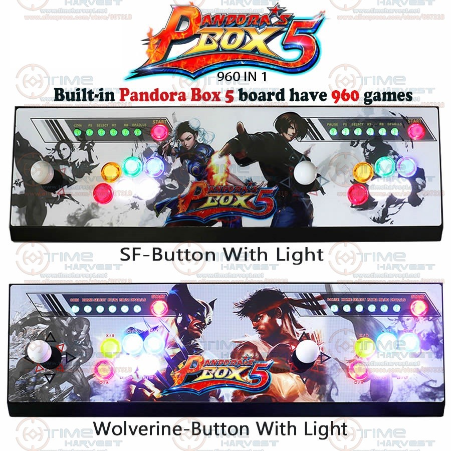New Arrival Pandora Box 5 All-metal Box 2 players Arcade Fighting Game Joystick with 4 cores CPU 960 in 1 games 8 ways joysticks sanwa button and joystick use in video game console with multi games 520 in 1