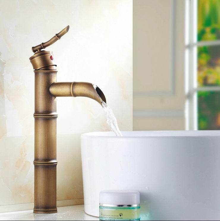 Livraison gratuite de haute qualité pont monté poignée unique style bambou salle de bain évier mélangeur robinet bronze populaire eau chaude et froide