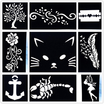 9 Pieces Lot Diy Cute Cat Feather Drawning Airbrush Tattoo Stencil Henna Body Art Flower Tree Painting Template Tattoo Stencils Buy At The Price Of 5 08 In Aliexpress Com Imall Com