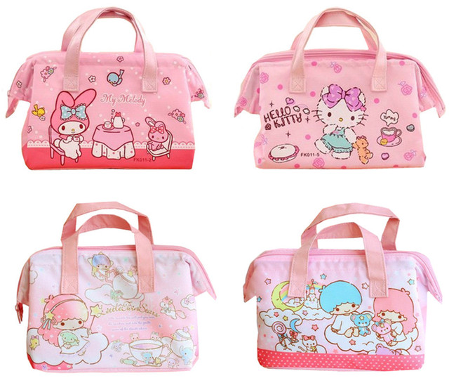 c4d6be1af9 Cute Hello Kitty Little Twin Stars My Melody Insulated Lunch Bags for Kids  School Girls Women Thermal Cooler Bag Tote Food Bags