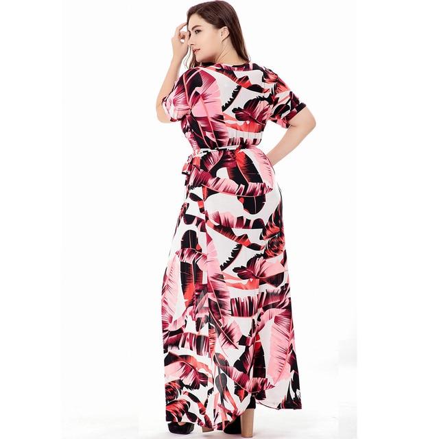 VITIANA Brand 2017 Women Summer Casual Clothing Femme  Print Bohemian V Neck Maxi Long Dress Plus Size 5XL 6XL With Belt