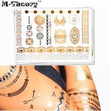 M-Theory Metallic Gold Choker Makeup Temporary 3D Tattoos Body Arts Lace Tatto Flash Tatoos Sticker 21x15cm Bikini Makeup Tools