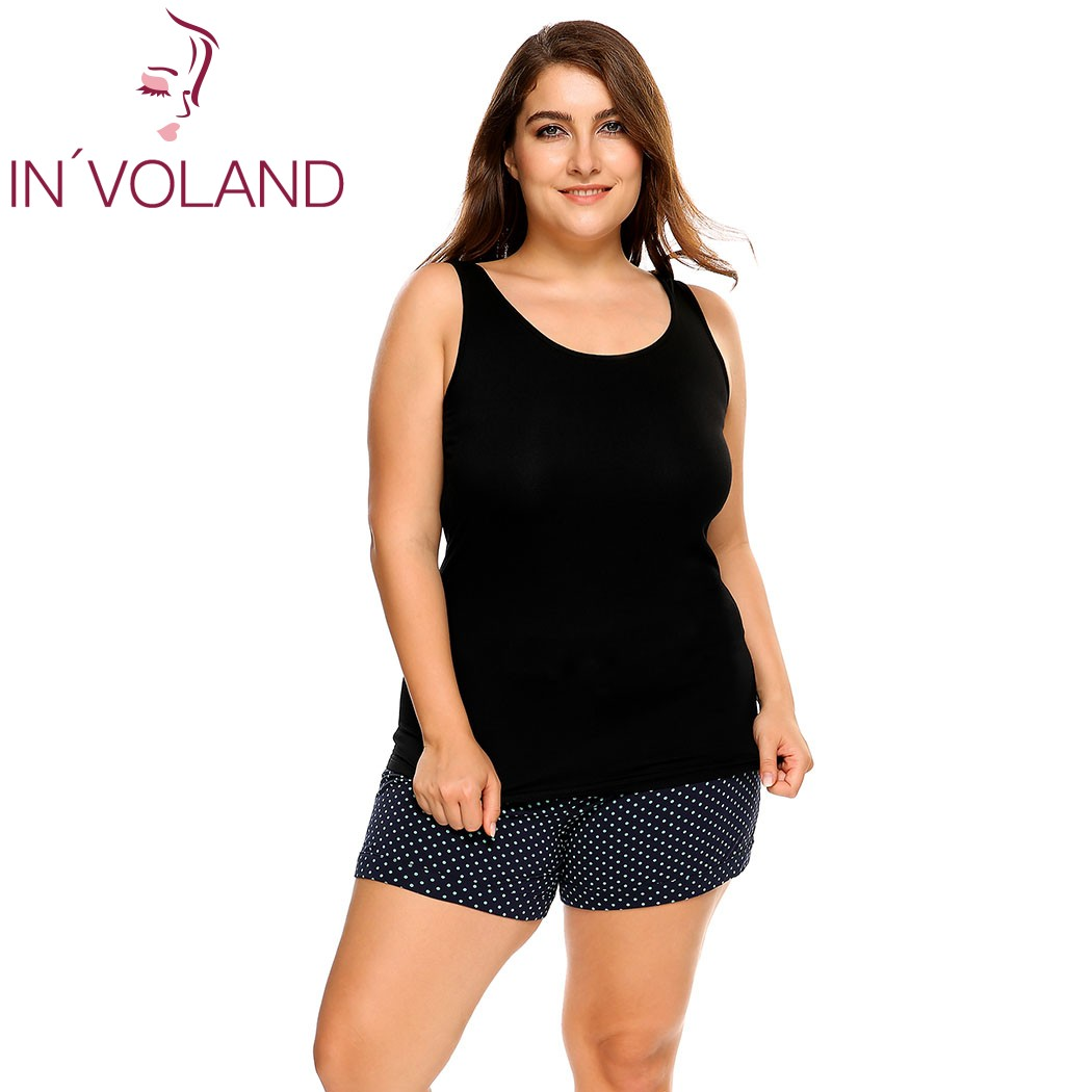 22831b5836662 IN VOLAND Women Tank Tops Plus Size L 4XL Scoop Neck Solid Casual Cotton  Large Sleepwear Pullovers Female Camisole Oversized-in Tank Tops from  Women s ...