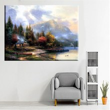 Lakeside Cottage Landscape Thomas Kinkade End of a Perfect Day Painting Print on Canvas for Living Room Wall Art Decoration Gift