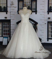Poemssongs Custome Made Appliques Flowers Ball Gown Style Wedding Dresses For Wedding Vestido De Noiva High