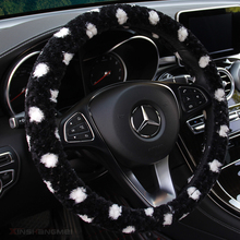 KKYSYELVA  Winter Car steering wheel cover Warm Plush Steering-wheel Protector Cover 38cm Interior Accessories